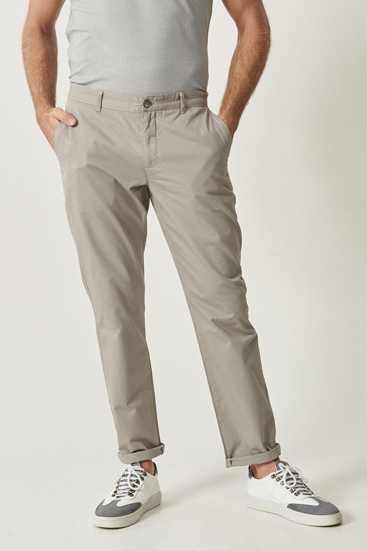ALTINYILDIZ CLASSICS Erkek Açık Gri Kanvas Slim Fit Chino Pantolon 1