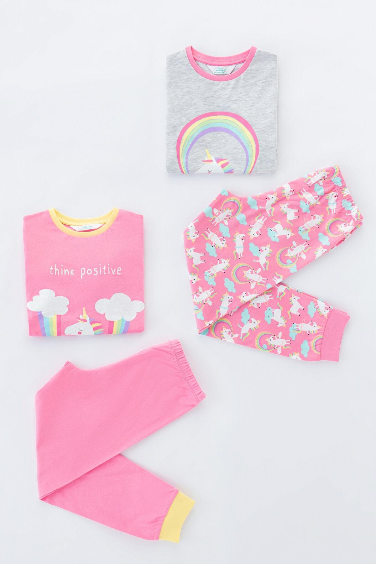 Penti Kız Çocuk Çok Renkli Playful Unıcorns Ls- 4Lü Pijama Takımı