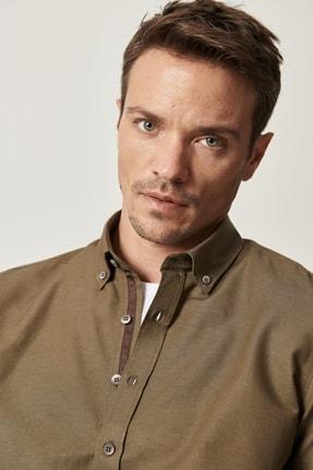 AC&Co / Altınyıldız Classics Erkek Haki Tailored Slim Fit Dar Kesim Düğmeli Yaka Oxford Gömlek