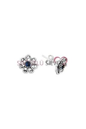 Söğütlü Silver Gümüş Oksitli Safir Taşlı Telkari Çiçek Modeli Küpe