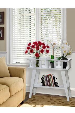 Home Decor Beyaz Dekoratif Ahşap 2 Katlı Çiçeklik Sehpa K-70