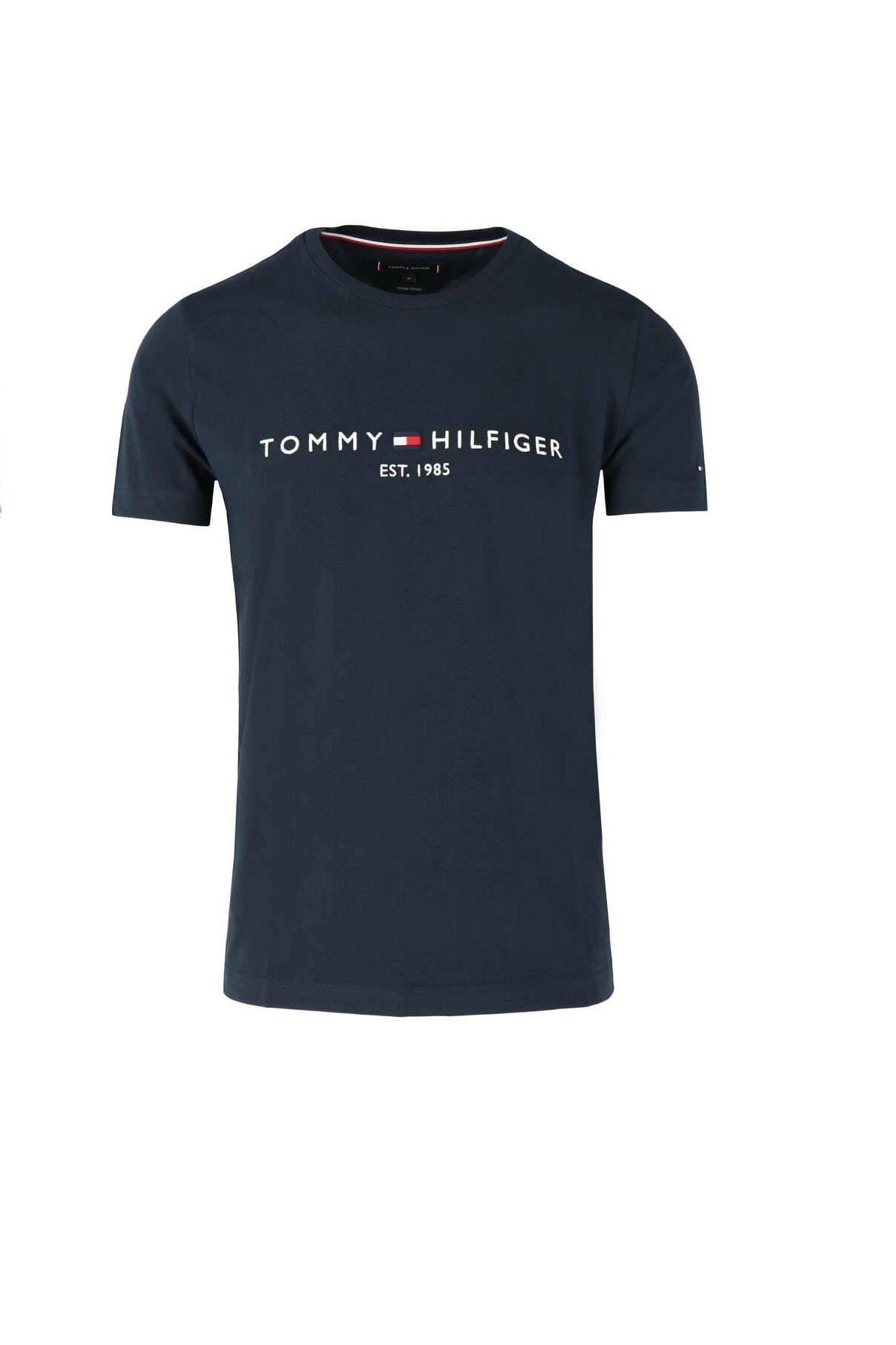 Tommy Hilfiger Erkek Lacivert  Logo Tee T-shirt Mw0mw11797 1