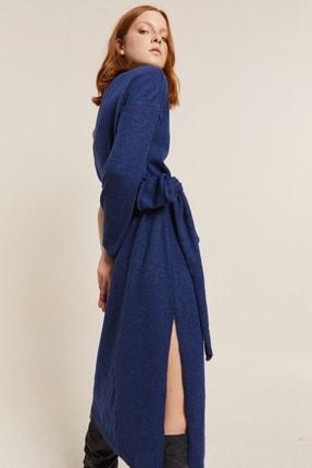 Love My Body Kadın Indigo Tek Omuzlu Triko Elbise