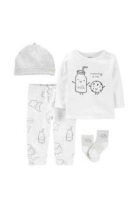 Carter's Bebek 4'lü Pantolon Uzun Kollu Üst Bere Çorap Set