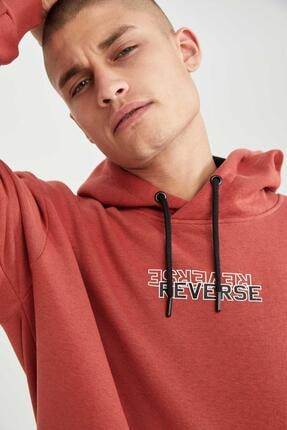 DeFacto Erkek Pembe Reverse Baskılı Oversize Fit Kapüşonlu Sweatshirt