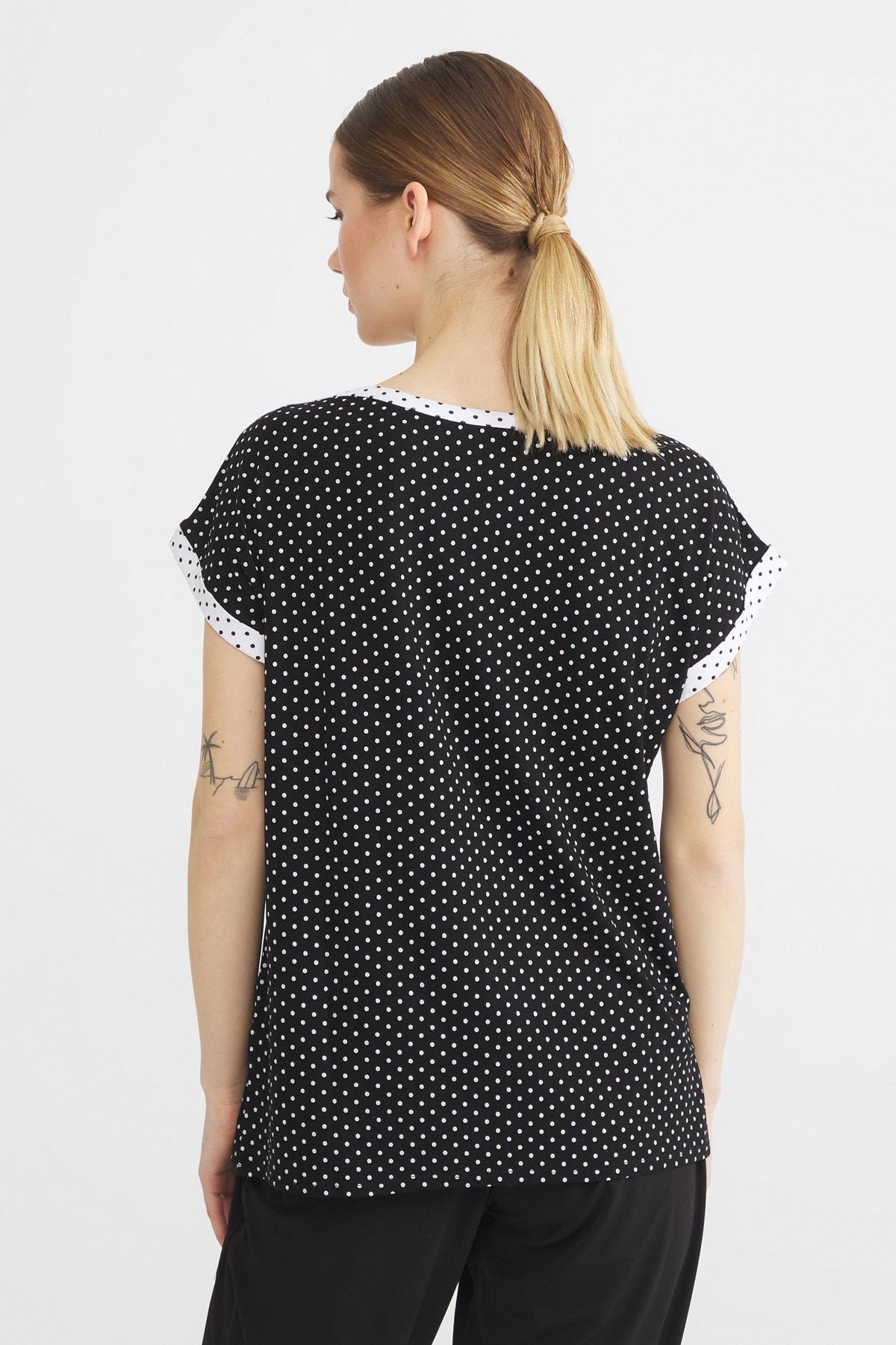 Love My Body Kadın Siyah Kontrast Renkli Puantiyeli Bluz 2