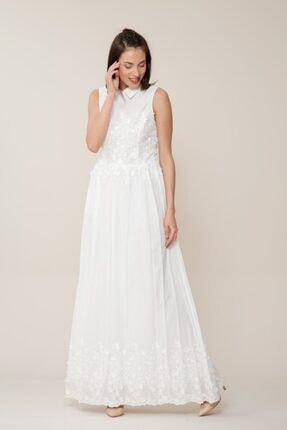 GIZIA CASUAL Çiçek Detaylı Uzun Beyaz Elbise