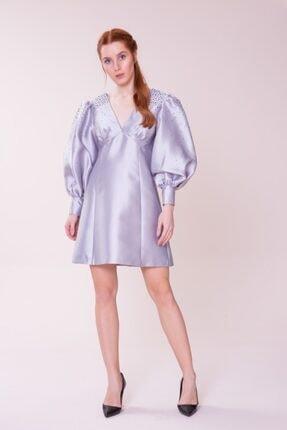 GIZIA CASUAL Kadın Omuz Detaylı V Yaka Gri Mini Elbise M18KEX1311TZP