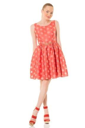 GIZIA CASUAL Kadın Kemerli Şeffaf Puantiyeli Coral Elbise M16YEU10510DE