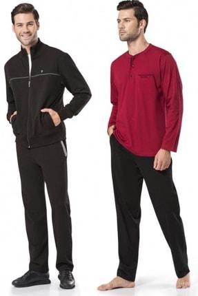 Pierre Cardin Siyah Eşofman Ve Bordo Pijama Damat Çeyiz Seti 7200 4 Lü