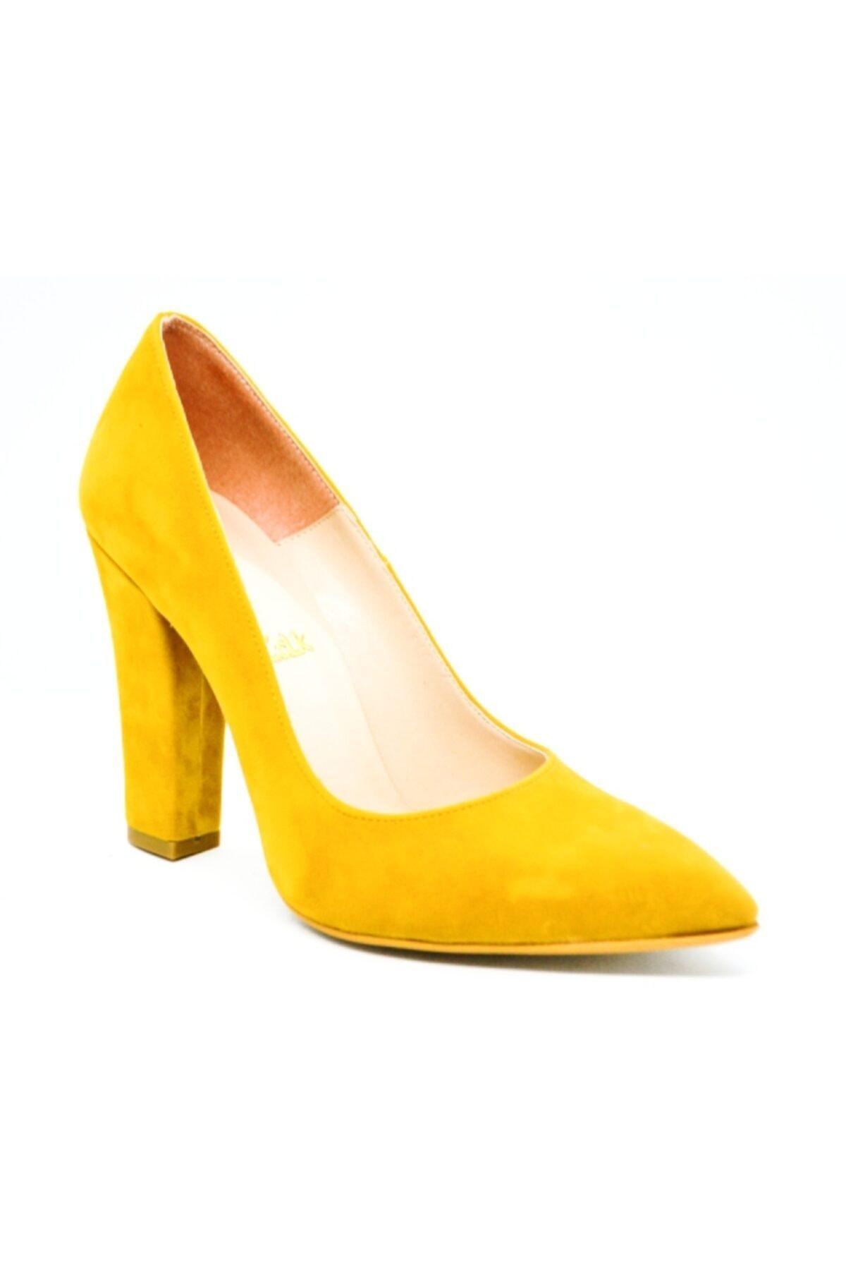WARHOL SHOES Kadın Hardal Nubuk Kalın Stiletto Ayakkabı 1