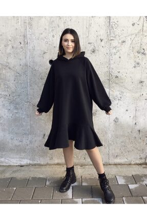 Yukka Kadın Siyah Kapüşonlu Oversize Elbise