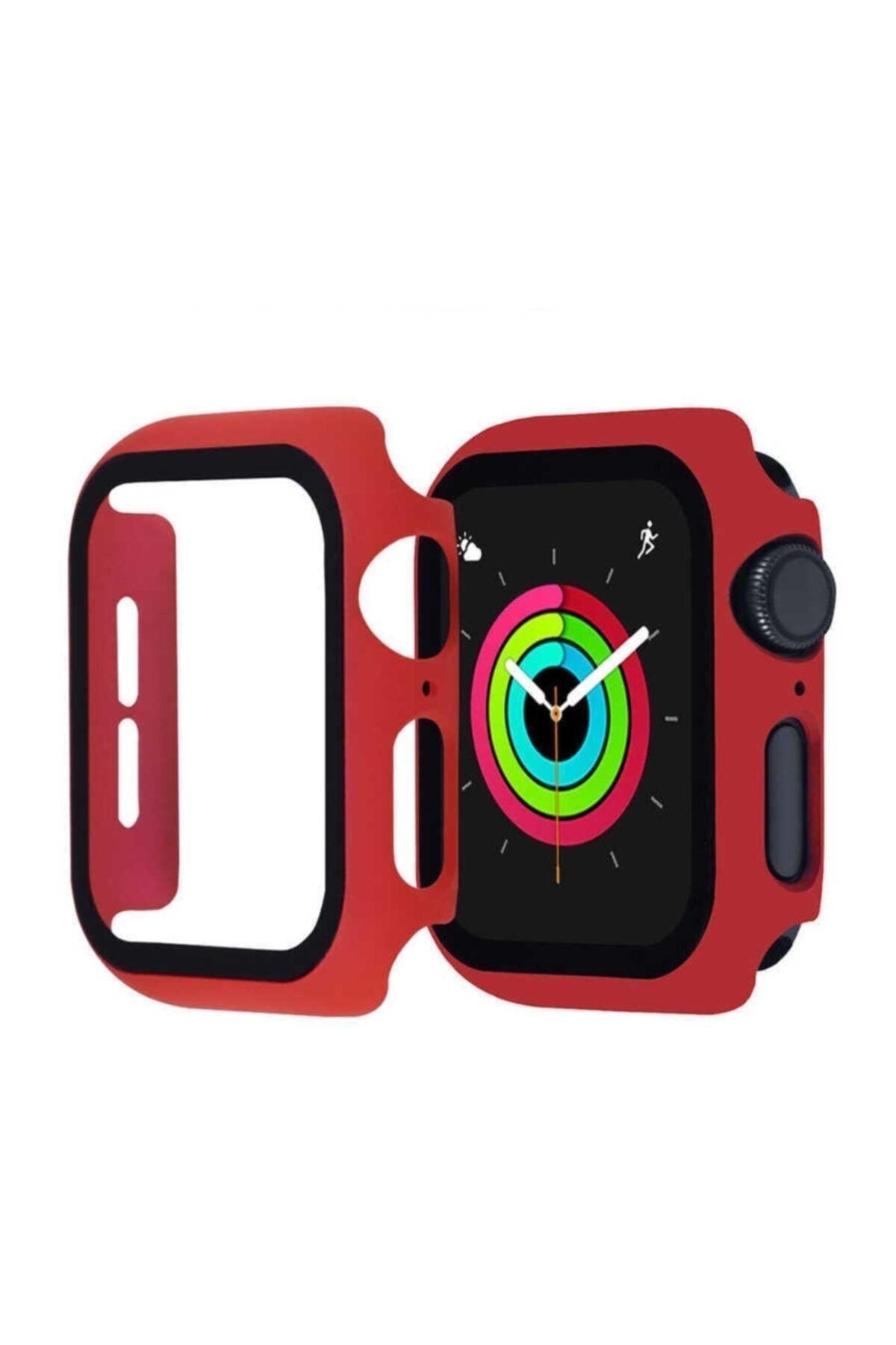 KVK PRİVACY Apple Watch Kırmızı Silikon Kılıf 42mm Tam Koruma Apple Watch 1 2 3 4 5 6 Se 1