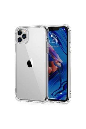 Fibaks Iphone 11 Pro Max Uyumlu Antishock Köşe Korumalı Darbe Emici Şeffaf Sert Silikon Kılıf