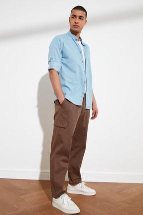 TRENDYOL MAN Vizon Erkek Pileli Yüksek Belli Kısa Paça Pantolon TMNSS21PL0226