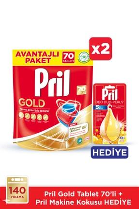 Pril Gold Bulaşık Makinesi Deterjanı, 70 Tablet 2'li Paket +makine Kokusu