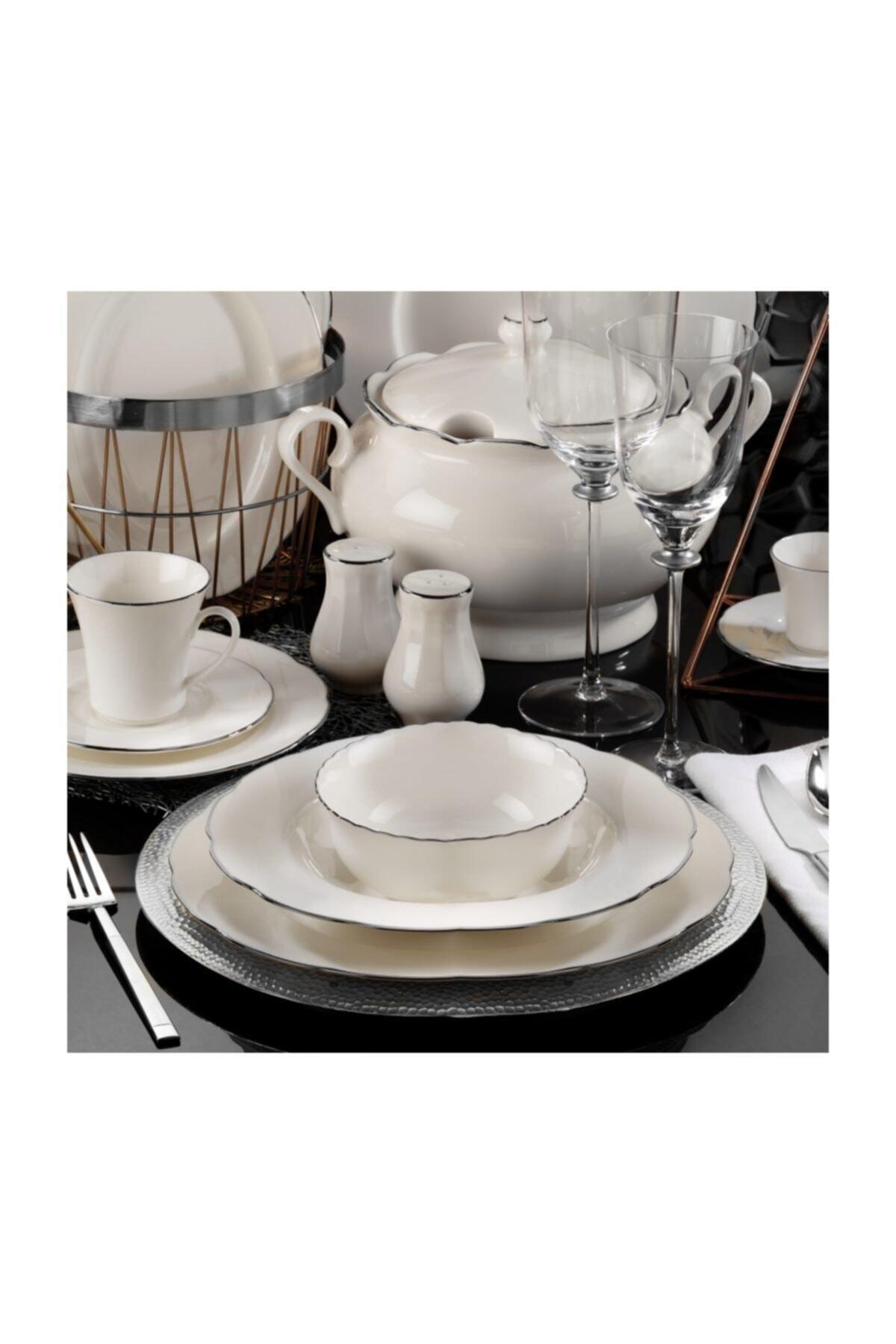 Kütahya Porselen Olympos 83 Parça Yemek Takımı Platın File Bnoly83yt220 1