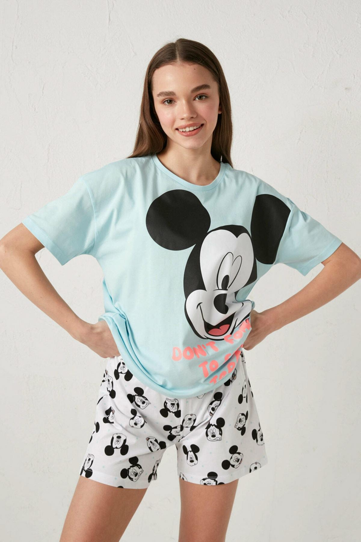 LC Waikiki Mickey Mouse Kadın Mavi G2P Pijama Takımı 1