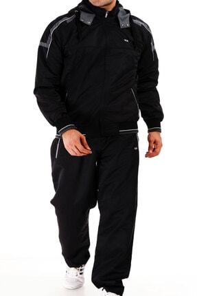 Enrico Ferry Siyah Erkek Yarım Balıkçı Yaka Kapşonlu Marathon Büyük Beden Eşofman Takım 2391s