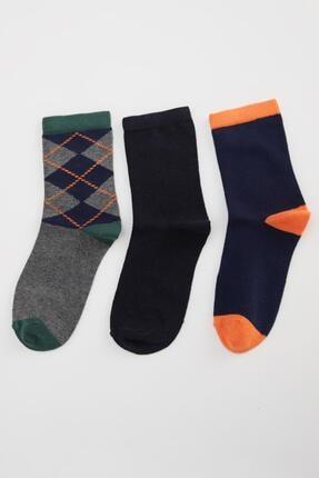 DeFacto Erkek Çocuk Desenli 3'lü Soket Çorap