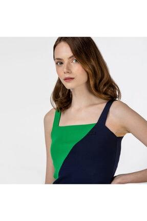 Lacoste Kadın Kolsuz Askılı Renk Bloklu Lacivert - Yeşil Triko Kazak AF0116