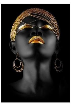 Hobi Butik Kanvas Tablo Afrikalı Kadın Led'li Dekoratif Moda Gece Lambası Duvar Dekorasyon Işıklı Tablo