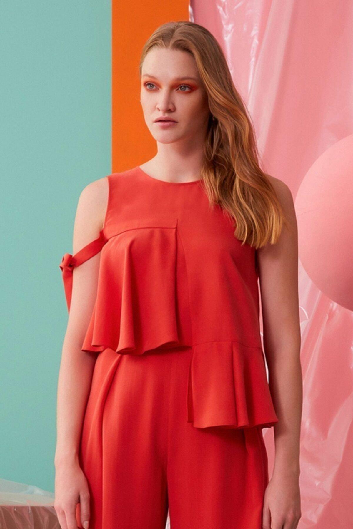 GIZIA CASUAL Kadın Mercan Rengi Fırfır Detaylı Bluz 1