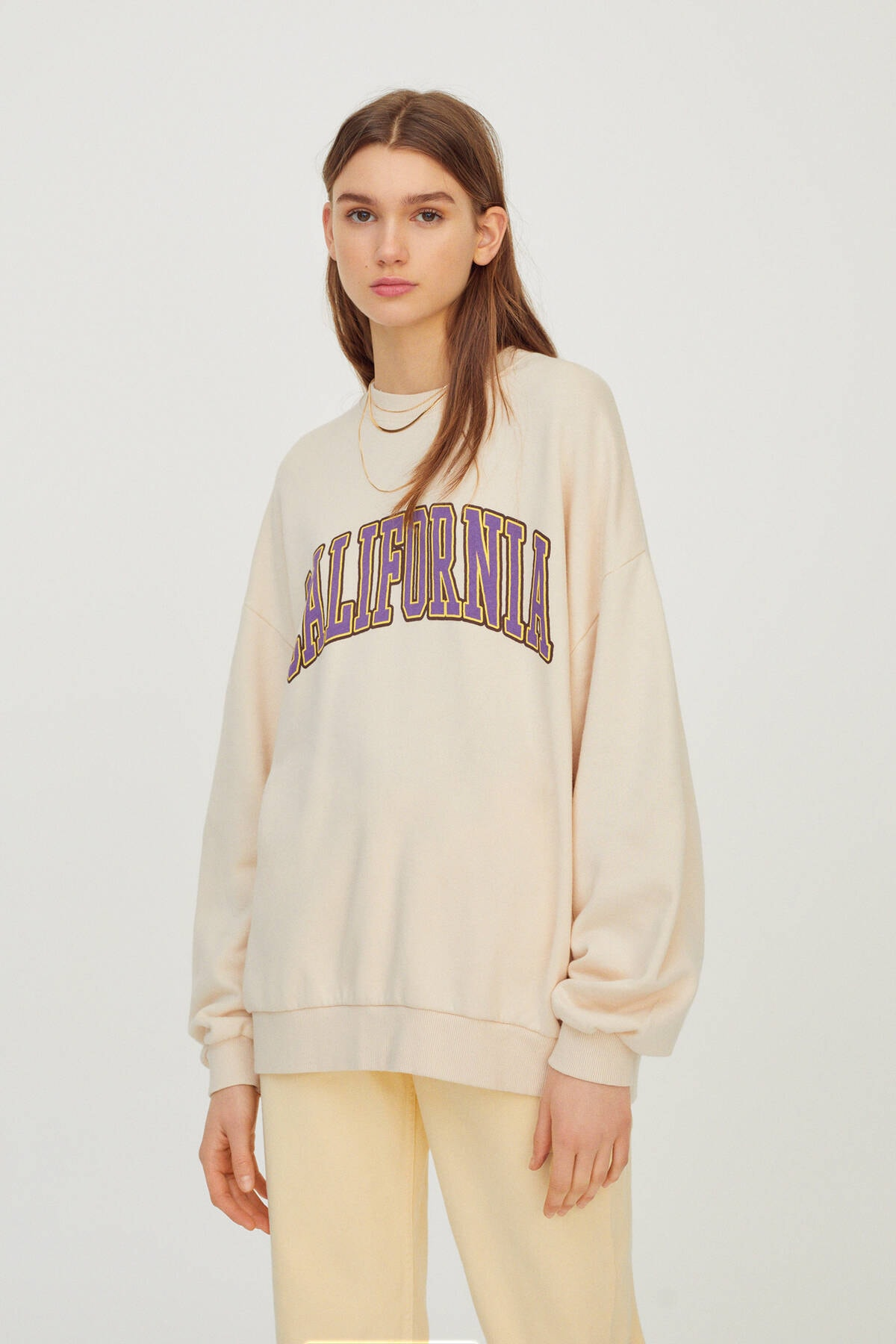 Pull & Bear Kadın Kum Rengi California Sloganlı Kolej Sweatshirt 04591365