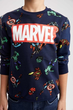 DeFacto Erkek Çocuk Lacivert Marvel Sweathirt