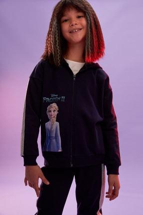 DeFacto Kız Çocuk Lacivert Warmtech Frozen Lisanslı Hırka