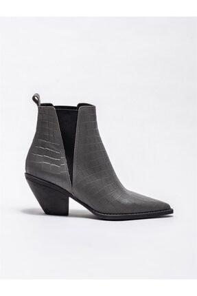 Elle Shoes Gri Deri Kadın Klasik Bot