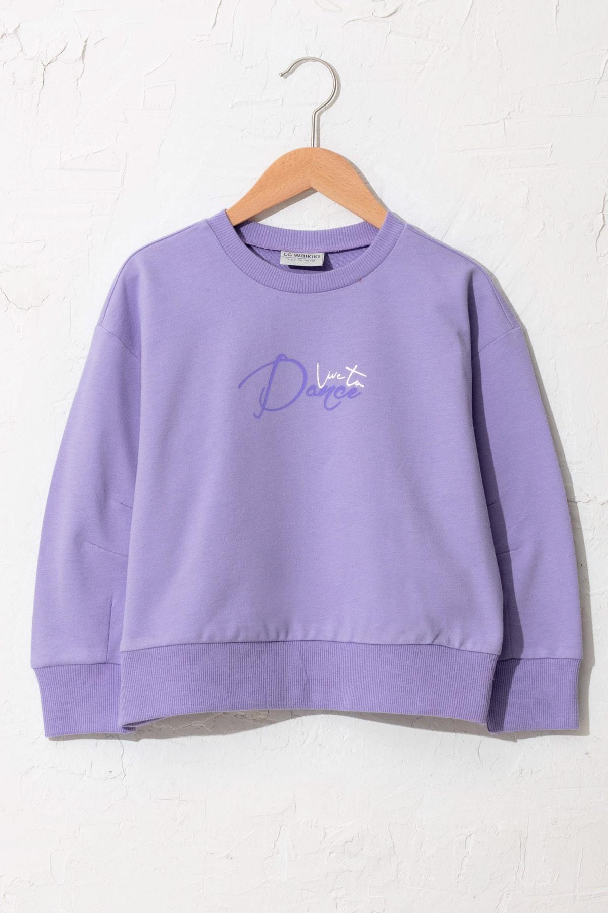LC Waikiki Kız Çocuk Koyu Lila Fkw Sweatshirt 1