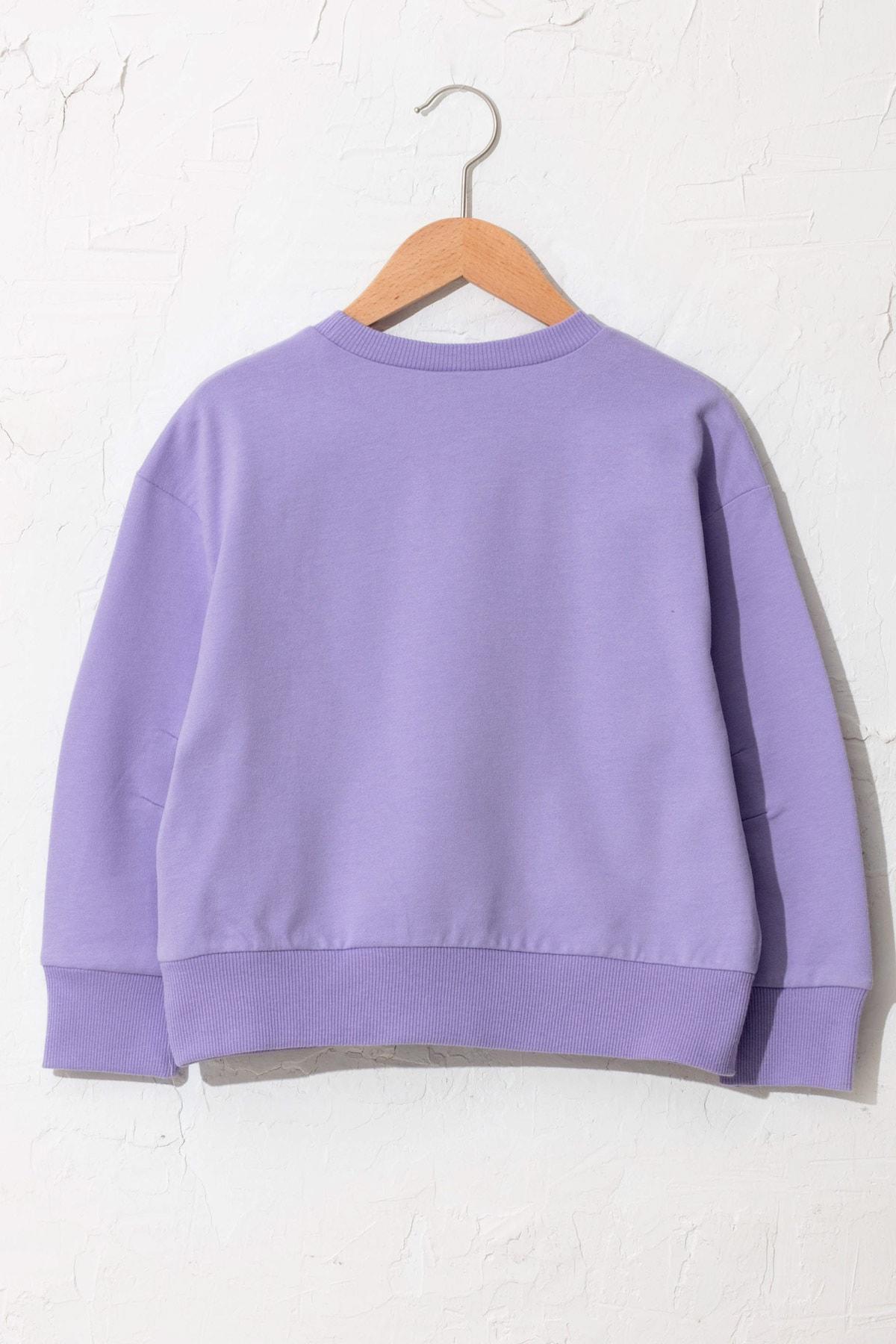 LC Waikiki Kız Çocuk Koyu Lila Fkw Sweatshirt 2