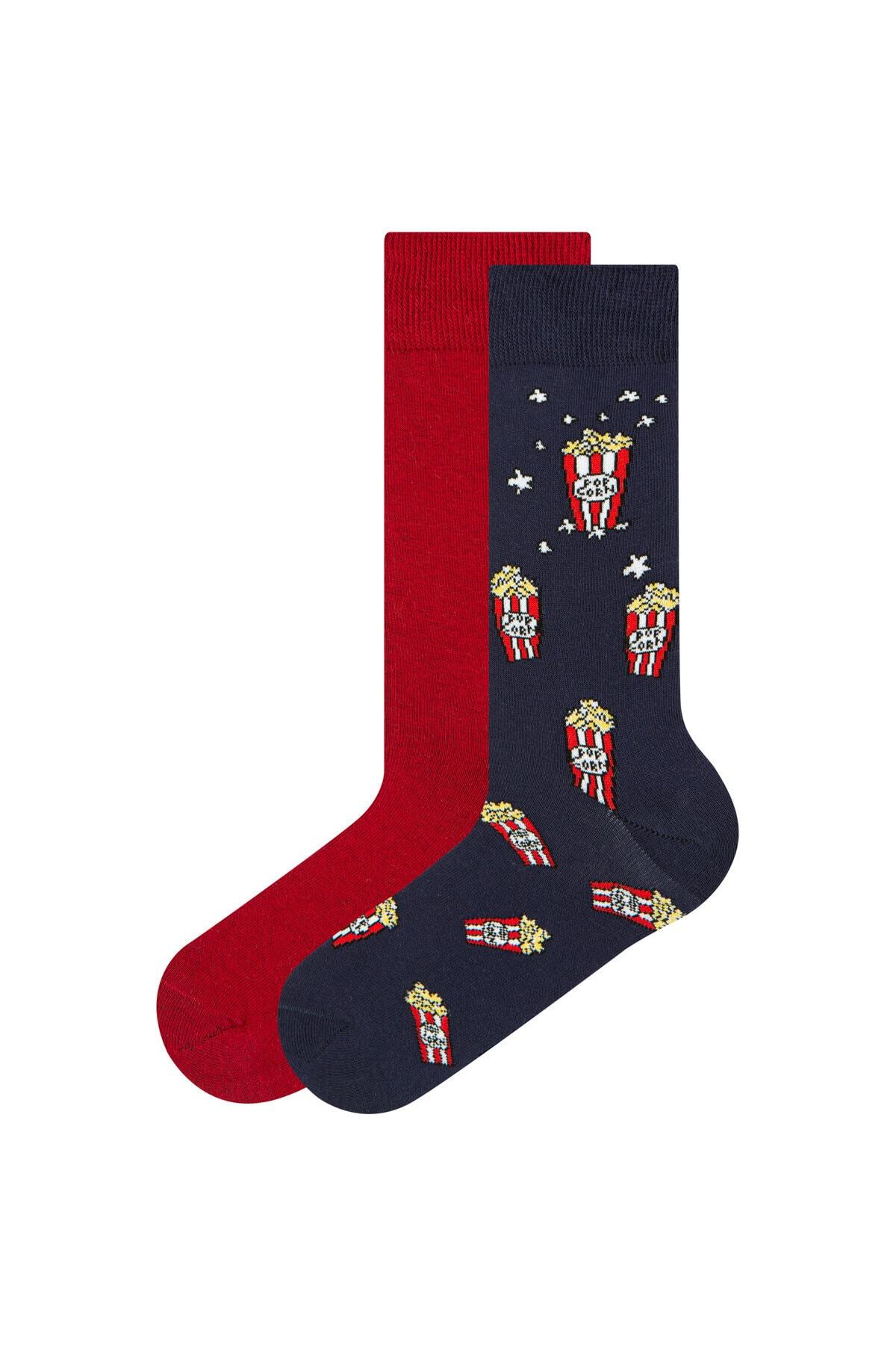 Penti Lacivert - Bordo Erkek Popcorn 2li Soket Çorap