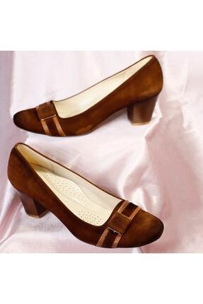 PUNTO Kadın Taba Süet Mevsimlik Topuklu Ayakkabı
