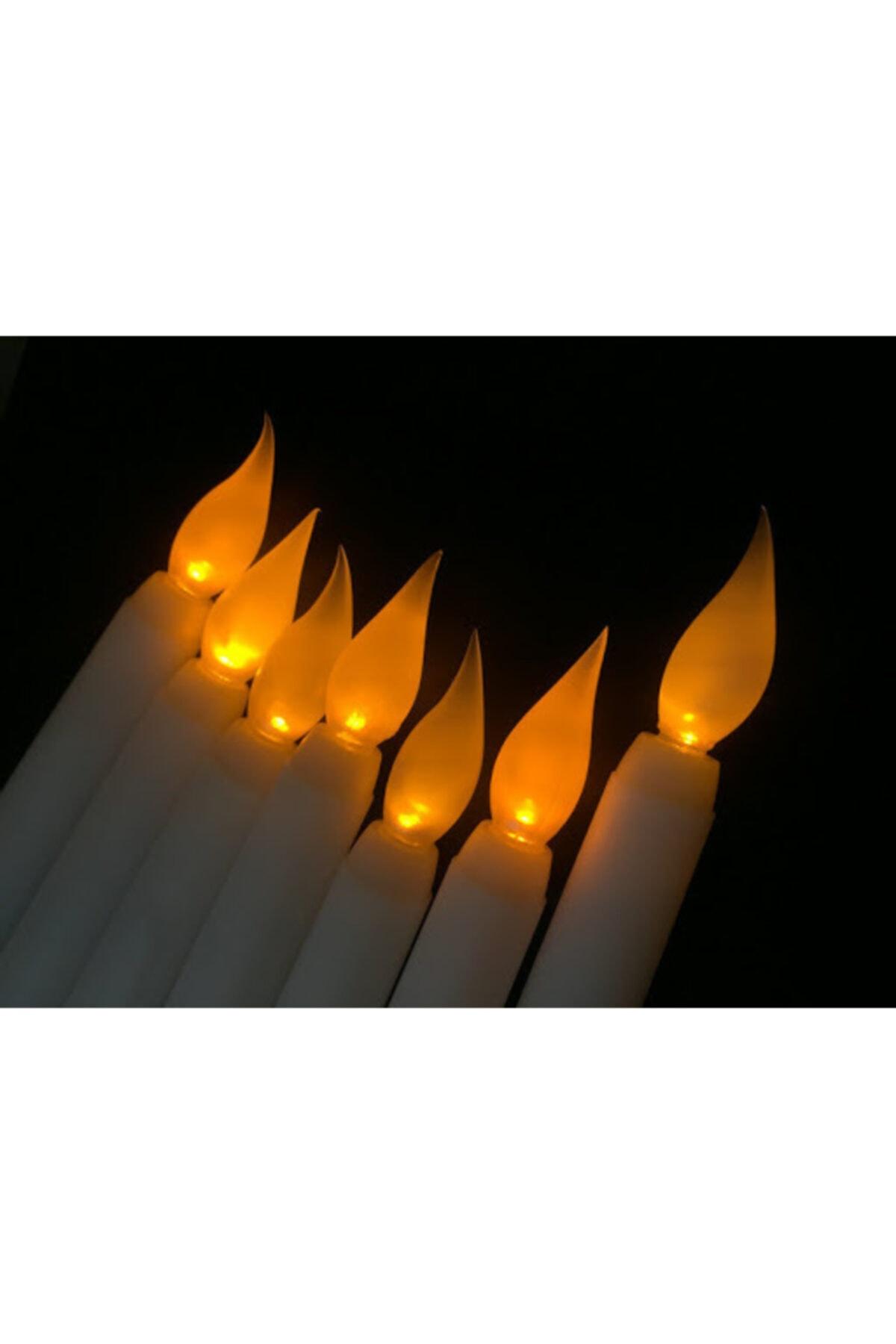 PROTECH Pilli Led Işıklı 5 Li 28 cm Şamdan Led Mum Sarı Gün Işığı 2