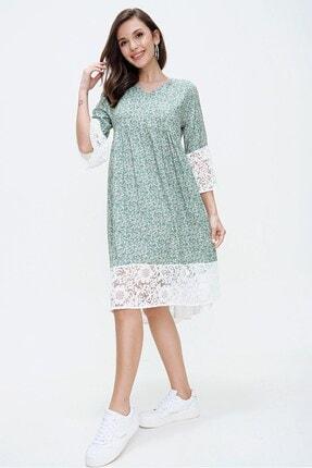 By Saygı Kadın Yeşil Çiçek Desen Dantel Detaylı Elbise S-20Y2060057