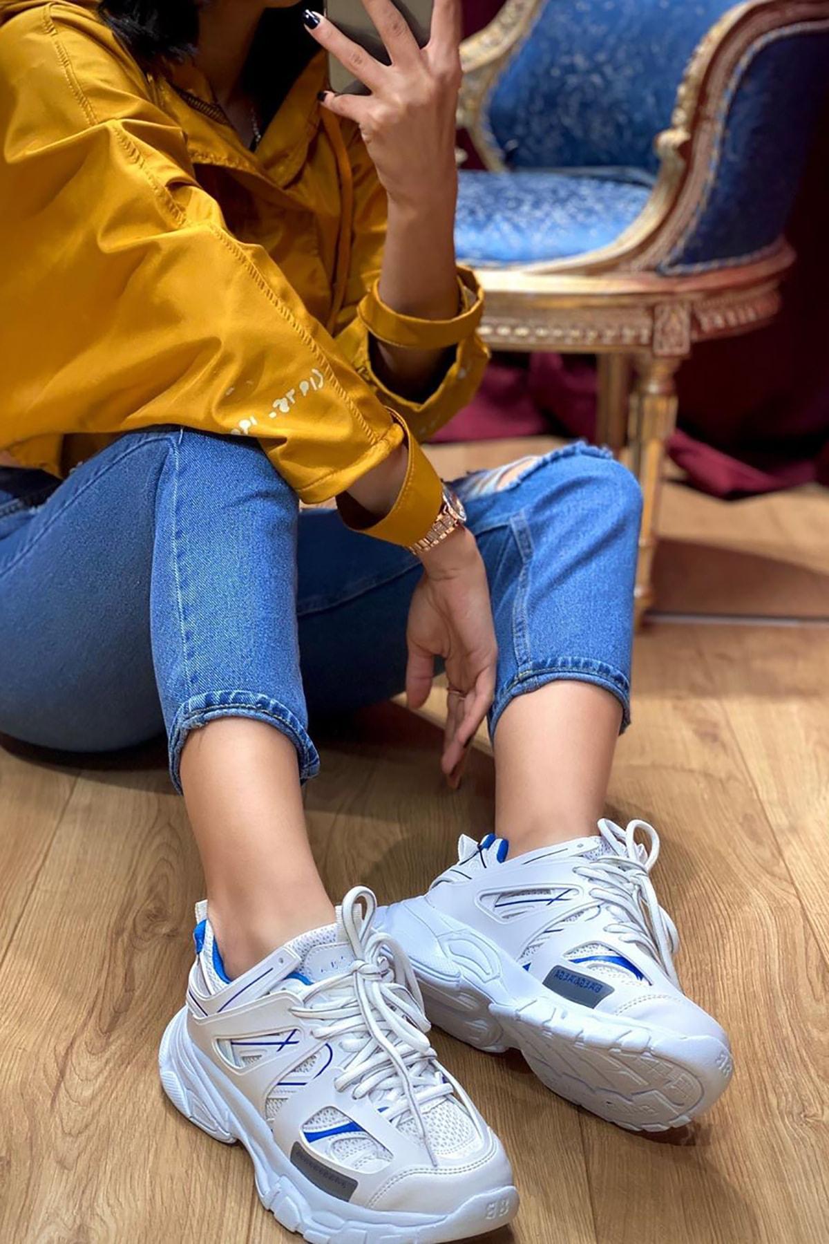 NOVELYA Unisex Beyaz Yüksek Taban Sneaker Ayakkabı 1