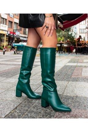 Sibel Durmaz Daria Yeşil Mat Deri Sivri Burun Çizme