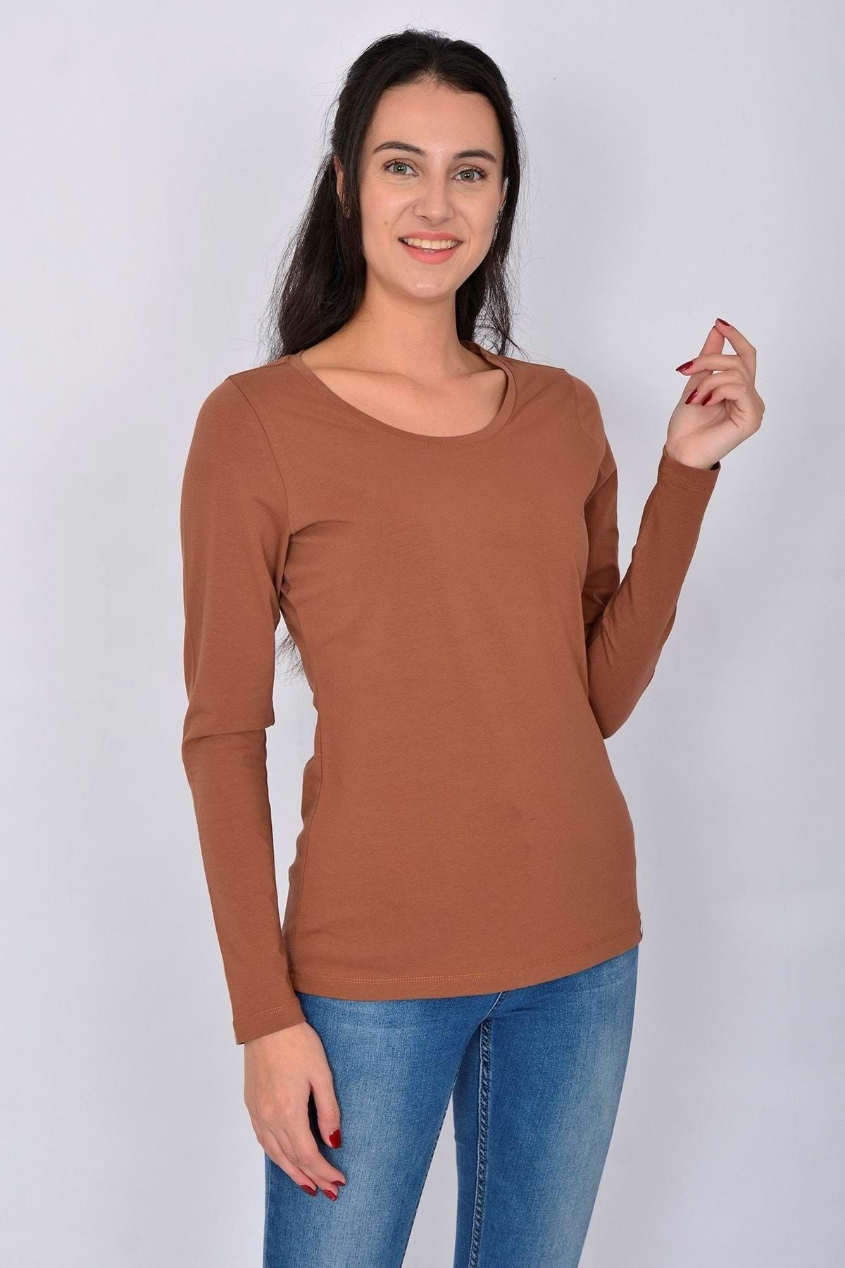 Letoile Pamuk Uzun Kollu Kadın T-shirt Kiremit 1
