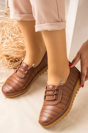 Lal Shoes & Bags Arica Kroko Ortopedik Rahat Kadın Ayakkabı-taba