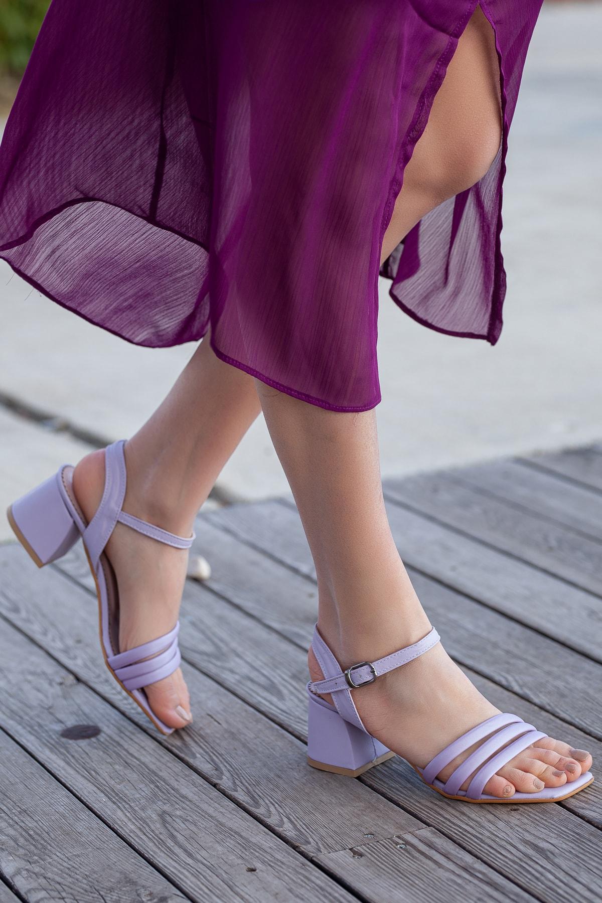 Daxtors Kadın Lila Klasik Topuklu Ayakkabı D2180 2
