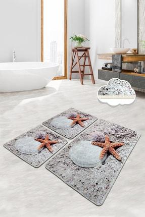 Chilai Home STARFISH 3 Lü Set Banyo Halısı Paspas Yıkanabilir Kaymaz Taban Klozet Takımı