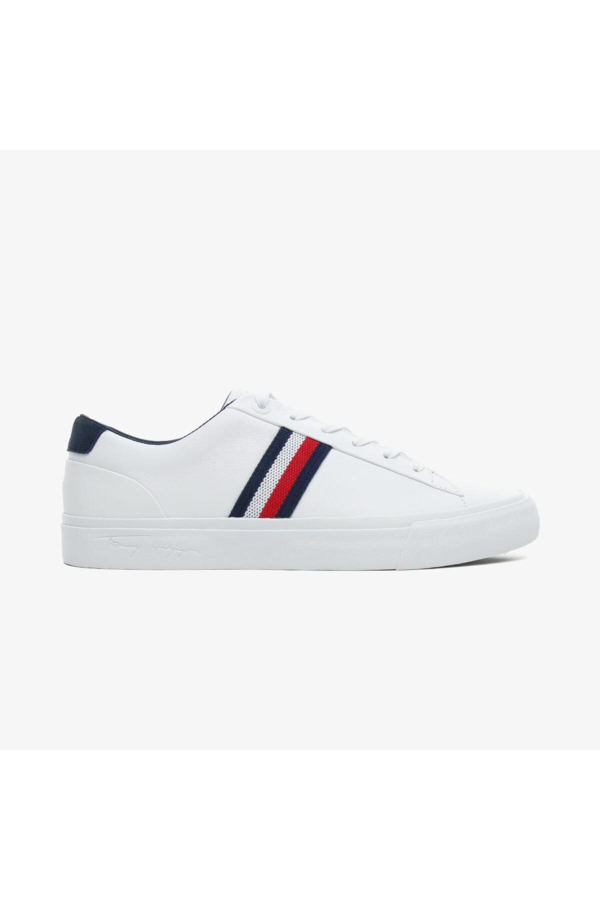 Tommy Hilfiger Erkek Beyaz Bağcıklı Sneaker 1
