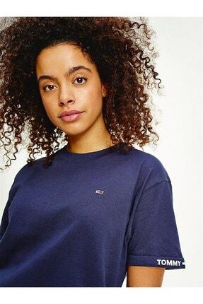 Tommy Hilfiger Kadın Mavi T-Shirt Tjw Crop Branded Tee DW0DW10130