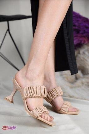 Öncerler Ayakkabı Kadın Ten Çift Bant Topuklu Terlik