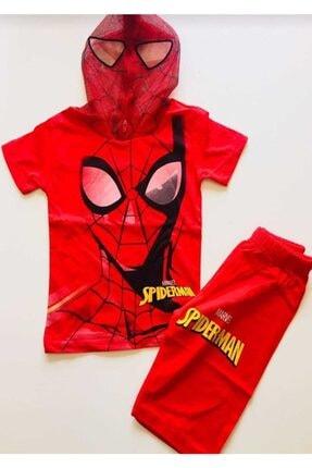 SPIDERMAN Örümcek Adam Kostümlü Maskeli Kaprili Takım