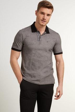 Network Erkek Slim Fit Antrasit Polo Yaka Logolu T-shirt 1078383
