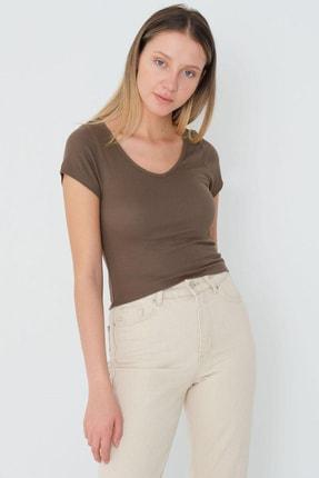 Addax Kadın Vizon Basic T-Shirt P1120 - U4 Adx-0000023706