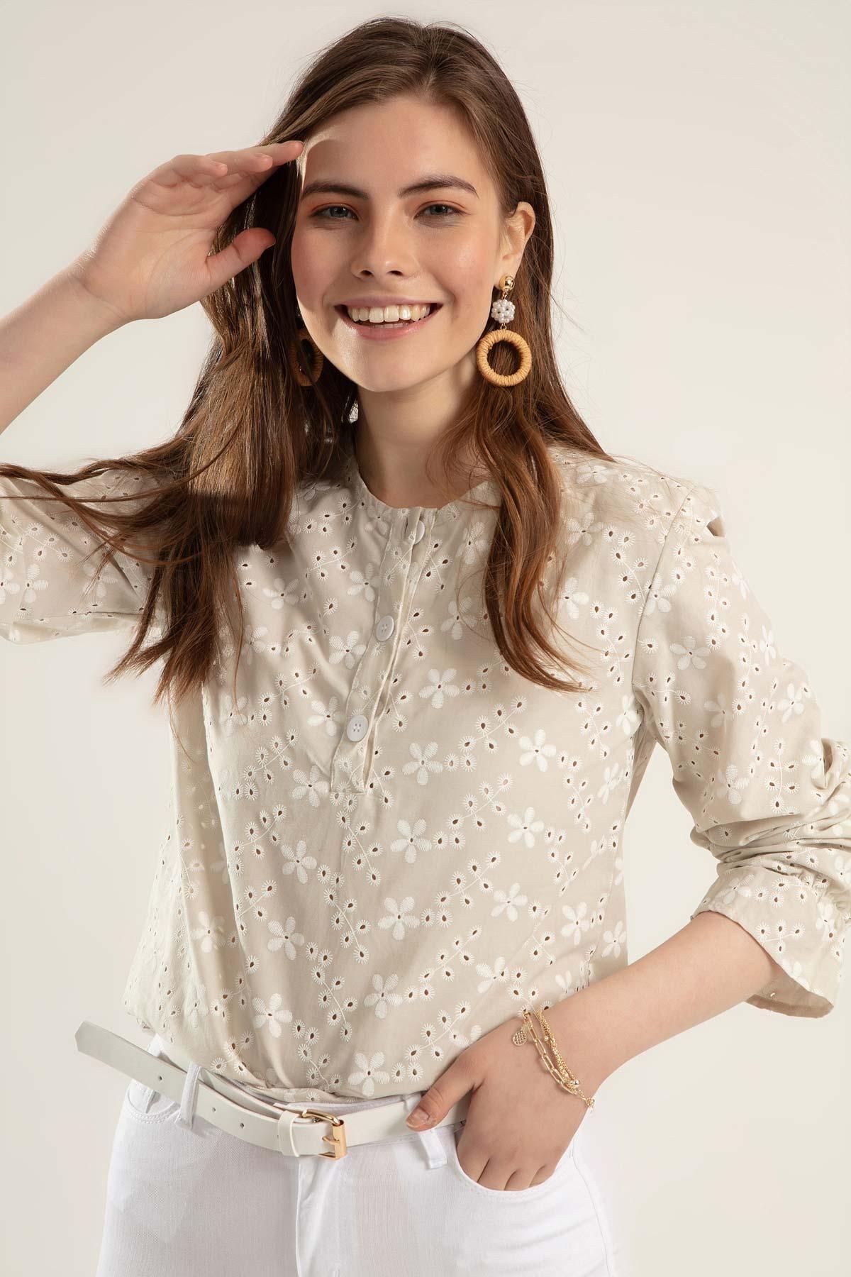 Pattaya Kadın Çiçekli Uzun Kollu Bluz Y20s110-0381 1